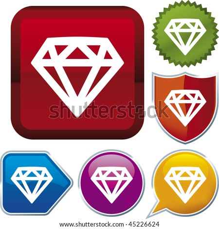 Vector icon illustration of diamond over diverse buttons. Only global colors. CMYK. Easy color and proportions changes.