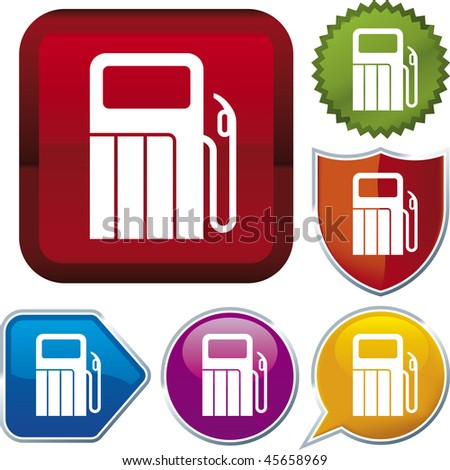 Vector icon illustration of gas station over diverse buttons. Only global colors. CMYK. Easy color and proportions changes.