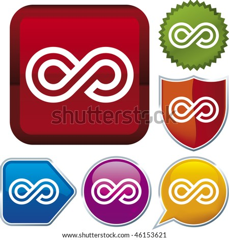 Vector icon illustration of infinite loop over diverse buttons. Only global colors. CMYK. Easy color and proportions changes.
