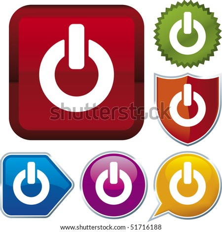 Vector icon illustration of on/off over diverse buttons. Only global colors. CMYK. Easy color and proportions changes.