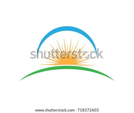 vector icon logo sun over
