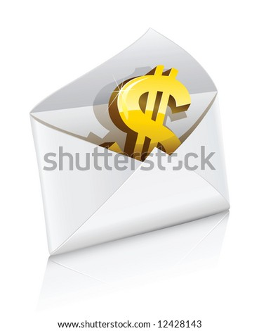 vector icon mail envelope with dollar currency sign isolated