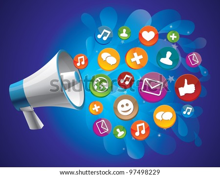 vector icon megaphone with icon - social media concept - stock vector