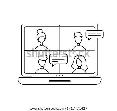 Vector icon monoline online meeting via group call. Four people in video chat. Coleagues in video conference at office or home. concept freelance, remote work, teleworking, Conference call