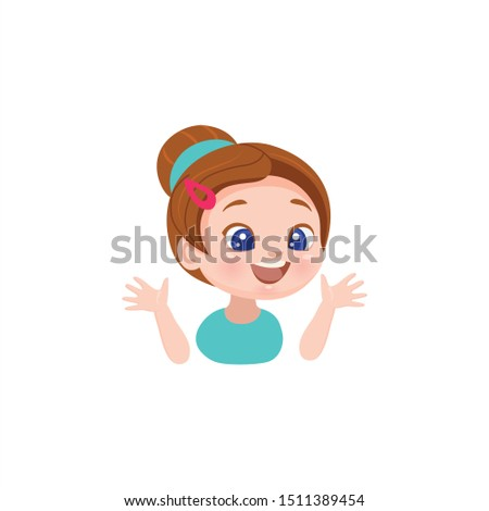 vector icon of a cheerful cute surprised girl who enjoys a gift, discount, offer, sticker for print and for a website, surprise, surprise, joy isolated on white eps 10