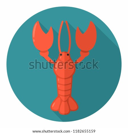 Vector icon of a crayfish. Illustration of arthropod, cancer in a flat style.