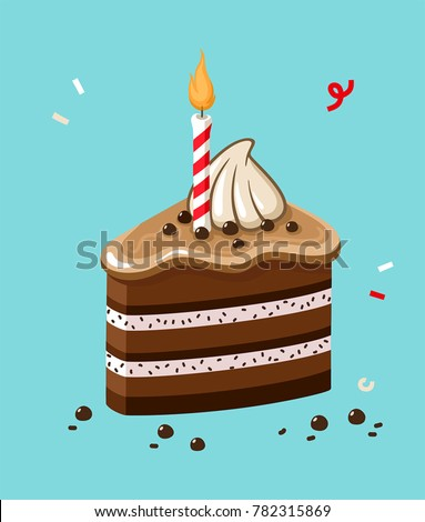 vector Icon of a festive chocolate cake with a candle. Image Happy Birthday cake. Illustration Cake with cream, icing and chocolate chips.