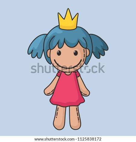 Vector icon of a rag doll princess. The kids toy doll has blue hair, a crown and a pink dress.