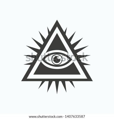 Vector icon of all seeing Masonic eye isolated on white background. All-seeing eye. Black icon of the all-seeing eye. The all-seeing eye of the eluminates. Symbol of secret societies