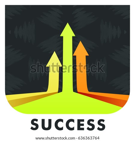 Vector icon of arrow with success text
