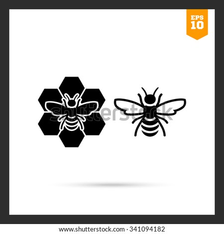 vector icon of bee and bee