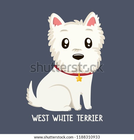 Vector icon of dog breeds  West Highland White Terrier. A puppy of a terrier sits in a red collar with a star.