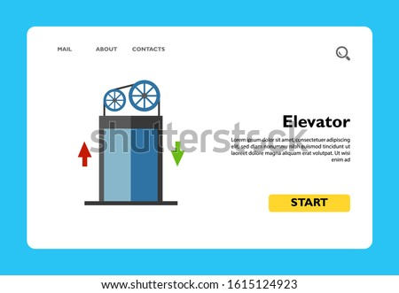 Vector icon of elevator moving plan with arrows. Lift, communication lines, mechanism. Elevators concept. Can be used for topics like construction, architecture, engineering