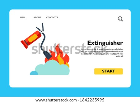 Vector icon of fire extinguisher putting out flame. Conflagration, fire safety. Protection concept. Can be used for topics like fire-extinguishing equipment, safety instructions, emergency Stockfoto ©