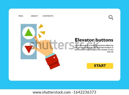 Vector icon of hand pushing elevator buttons. Lift, elevator instructions, technology. Elevators concept. Can be used for topics like construction, architecture, map pointer