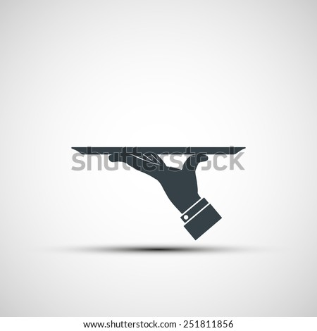 Vector icon of human hand with a tray