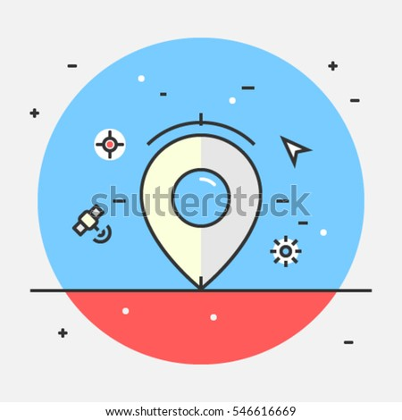 Vector icon of location, map, address, and pointer for website, blog, and app, Local listing optimization flat vector illustration