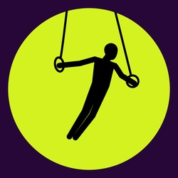 Vector icon of man athlet gymnast on rings. Male gymnast on rings.