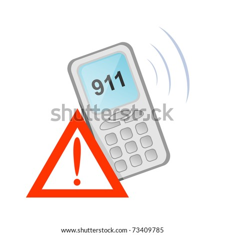 Vector icon of rescue telephone call - stock vector