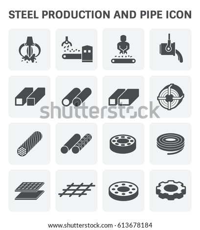 vector icon of steel pipe and