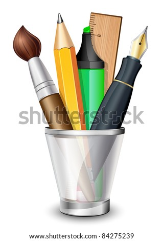 Vector icon of the brush, pencil, pen, ruler and marker in the holder