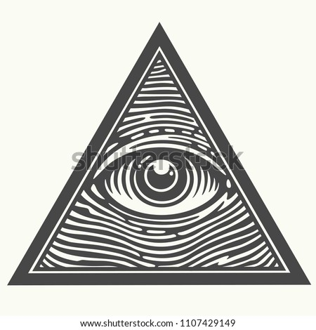 Vector Icon of the Masons symbol All-seeing eye of God. The eye of Providence in the triangle. Eye of god picture image in flat sttyle