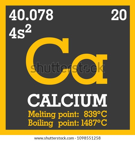 Vector Icon of the Periodic Table of Mendeleev - Ca. Chemical element Ca with atomic mass designation, Electronic configuration, Melting point, Boiling point and name. Text: Calcium.