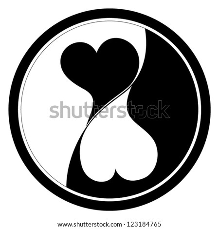 Vector icon of two hearts isolated on white background