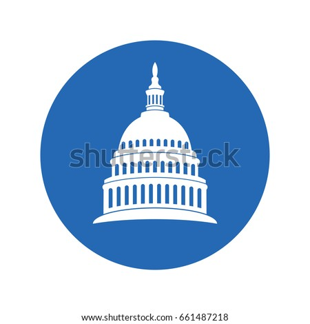 vector icon of united states capitol hill building washington dc, american congress, white symbol design on round blue background