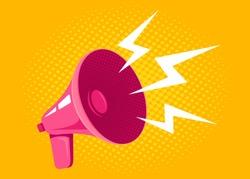 Vector icon of vintage pink megaphone. Vector retro megaphone on halftone yellow background.