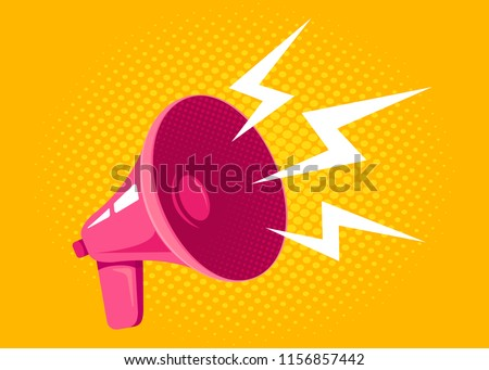Vector icon of vintage pink megaphone. Vector retro megaphone on halftone yellow background.