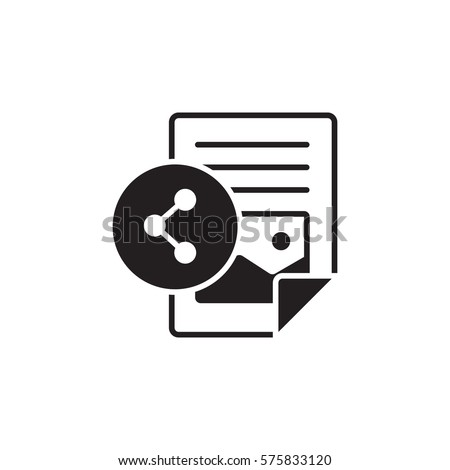 Vector icon or illustration showing text and image contentin one color style