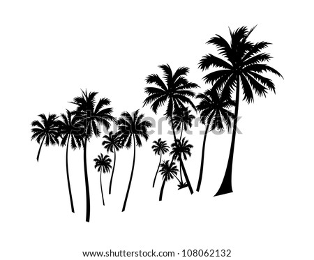 vector icon palm tree - stock vector