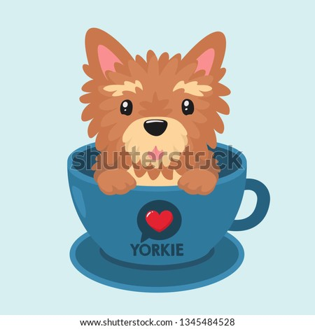 Vector icon puppy dog ​​breed Yorkshire terrier. Pet beige yorkie dog sitting in a blue cup. Yorkshire terrier dog illustration in flat minimalism line style.