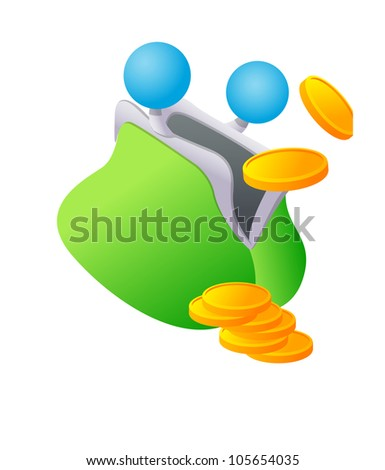 Vector icon purse and coin