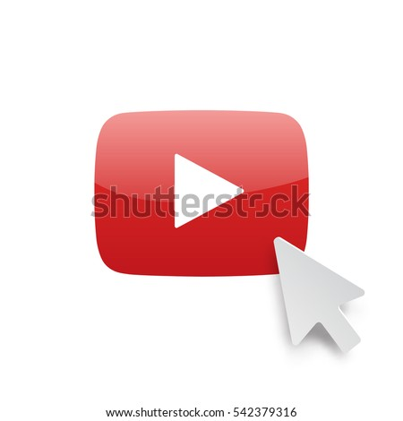 Vector icon red play button with digital arrow