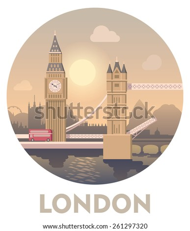 Vector icon representing London  travel destinations and landmarks - Big Ben and Tower Bridge
