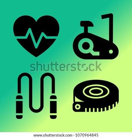 Vector icon set about fitness and sport with 4 icons related to heart, sport, bycycle, rope, pulse, skipping rope, fitness, measuring tape, jumper and stationary bike