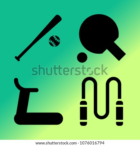 Vector icon set about fitness and sport with 4 icons related to racket, fitness, sport, rope, treadmill, baseball, ball, skipping rope, running track and running