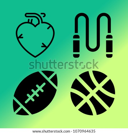 Vector icon set about fitness and sport with 4 icons related to rope, jumper, heart, fitness, american football, skipping rope, ball, basketball and sport