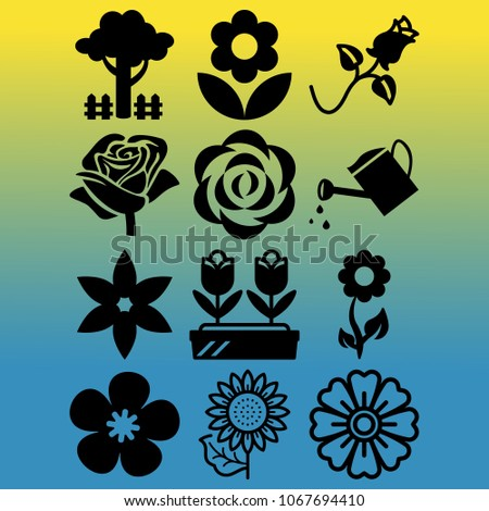 vector icon set about gardening