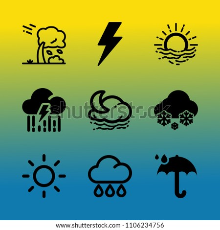 Vector icon set about weather with 9 icons related to hill, autumn, whirlwind, temperature, blizzard, moon, beauty, global, ray and energy