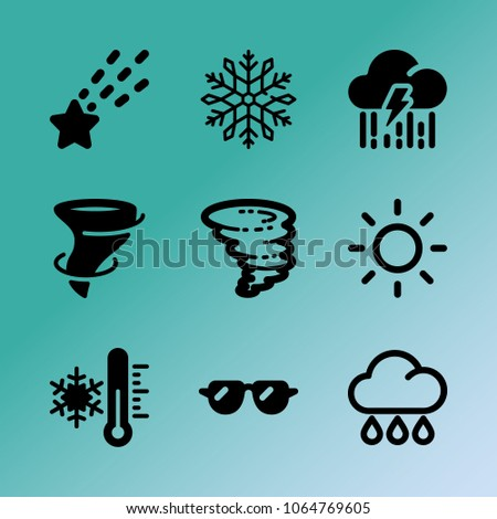 Vector icon set about weather with 9 icons related to wind, weather, thunderstorm, hurricane, thermometer, snow, star, thunder, sunglasses and snowflake