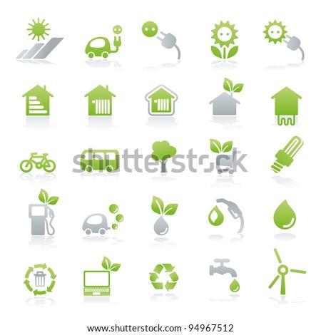 vector icon set energy + green lifestyle