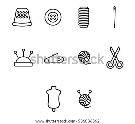 Vector icon set for tailoring and needlework on white background