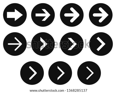 Vector icon set for website arrows to the right in black circle background #1368285137