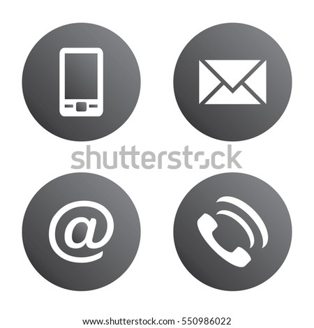 Vector icon set: gray spherical communication icons - mobile phone, envelope, e-mail address, phone