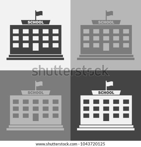 Vector icon set  of a school  building on a gray background