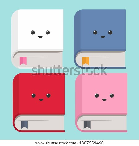 stock-vector-vector-icon-set-of-books-books-of-different-colors-with-kawaii-faces-depicted-on-the-cover