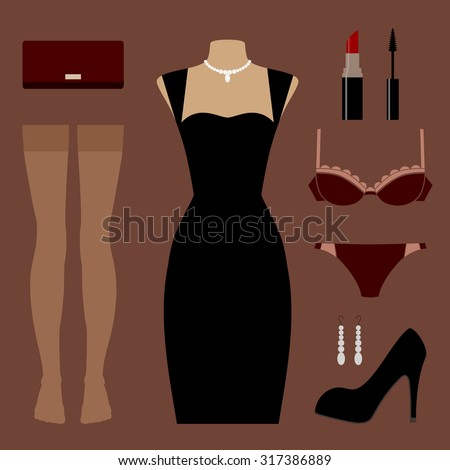 vector icon set of clothes and